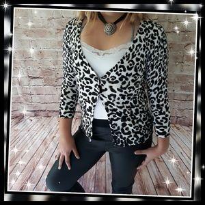 WHBM Animal Print Cardigan Sweater
